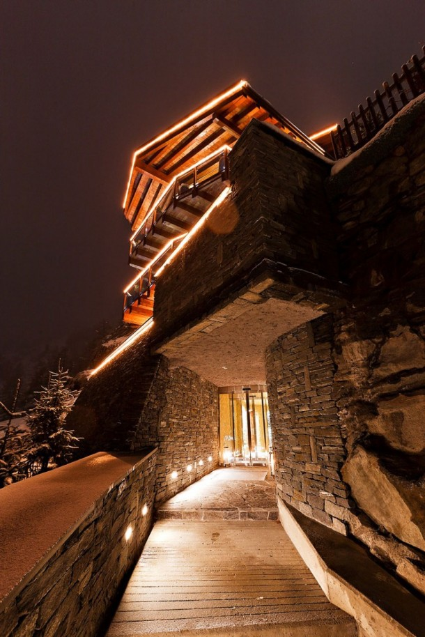 Cool Entry Way at Luxury 6 Star Catered Chalet and Boutique Hotel in Switzerland