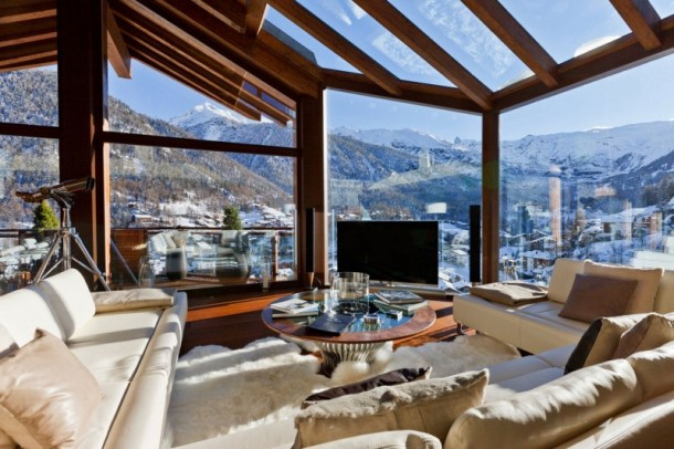 Living Space Furniture and Amazing View at Luxury 6 Star Catered Chalet