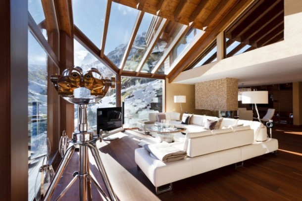 Living Space with Glass Ceiling at Luxury 6 Star Catered Chalet