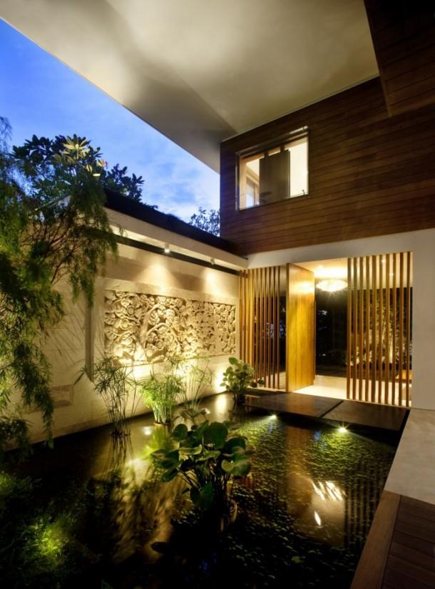 The Meera House under lights