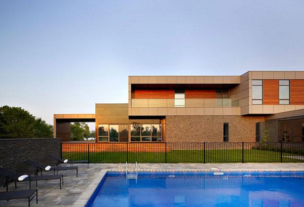 Riverhouse Niagara exterior facade design with swimming pool