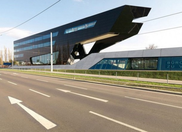 Road view of The Blac panther Futuristic Building