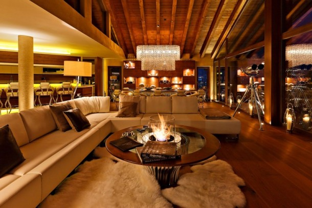 Rugs, Table and Sofas at Luxury 6 Star Catered Chalet and Boutique Hotel in Switzerland