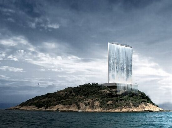 Solar City Tower with urban waterfall proposed for 2016 Rio Olympics