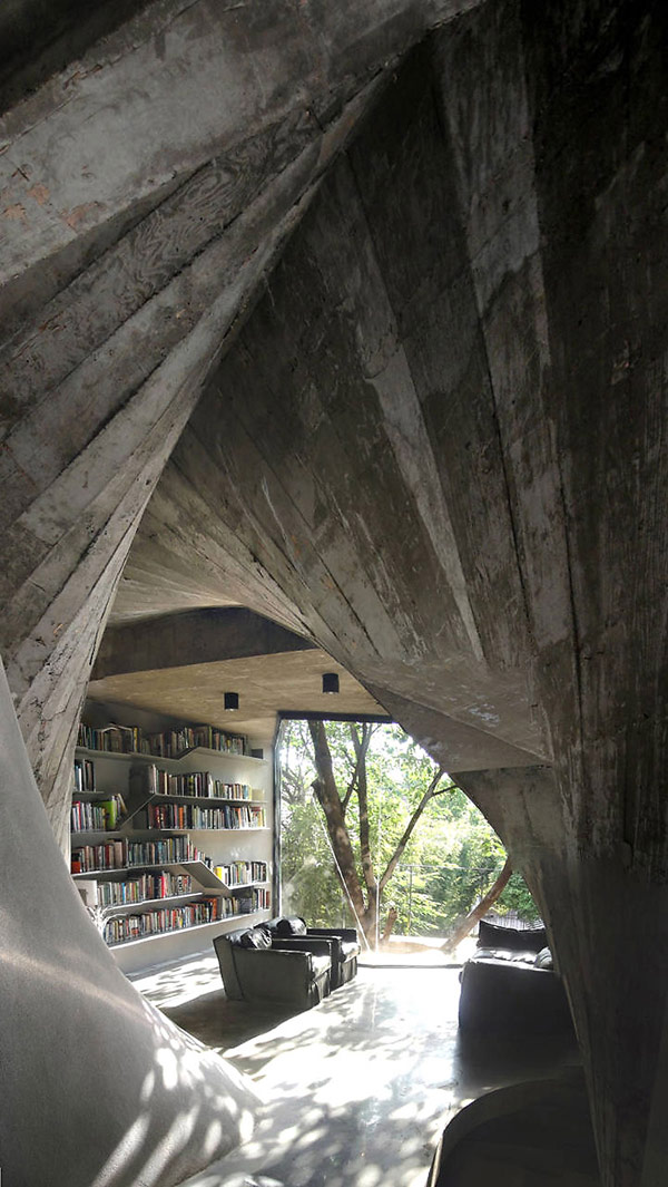 Tea House in Shanghai With Twisting Shape and a Surprising Interior Design