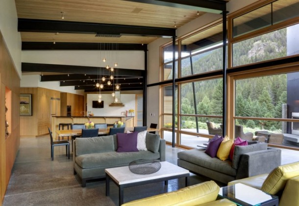 contemporary living at River Bank House
