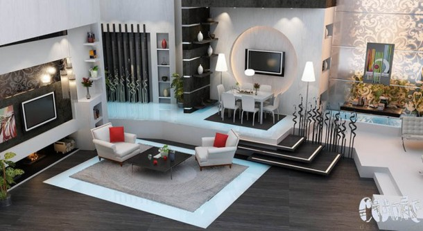 grey and black living room interior