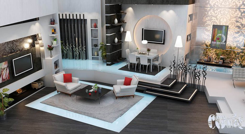 grey and black living room interior 3d architecture renderings