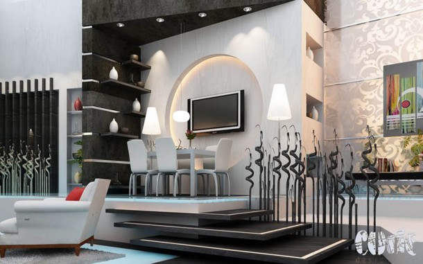 grey and black modern living room interior