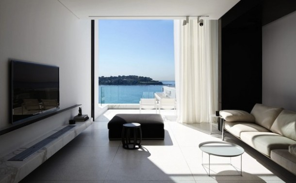 living area with sea panorama
