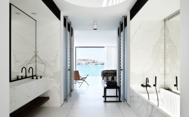 modern bathroom interior marble wall