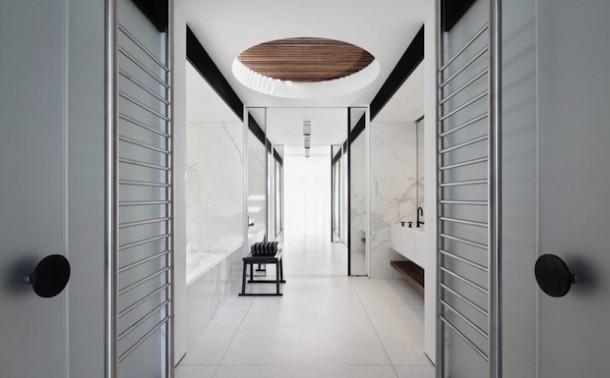 modern white theme bathroom design at bondi house