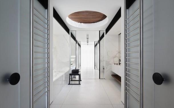 modern white theme bathroom design at bondi house