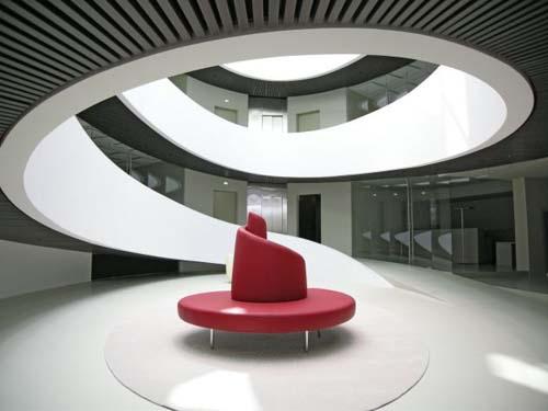 spiral staircase futuristic building architecture