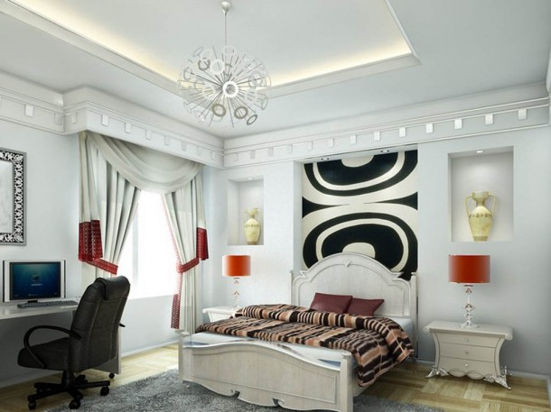 white bedroom with graphic prints
