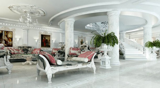 white living room interior victorian marble
