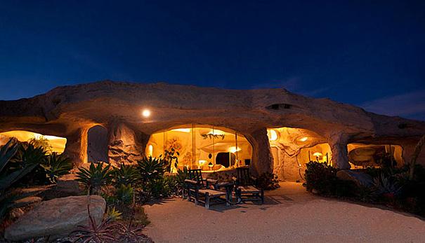 Dick Clark's Flintstones-inspired Malibu home night view