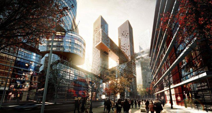 cross # towers' by BIG architects, seoul, korea