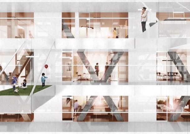 floor to ceiling interior facade