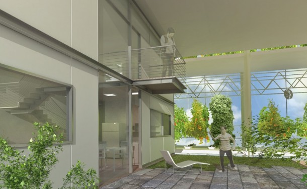 modern housing concept with a vertical greenhouse