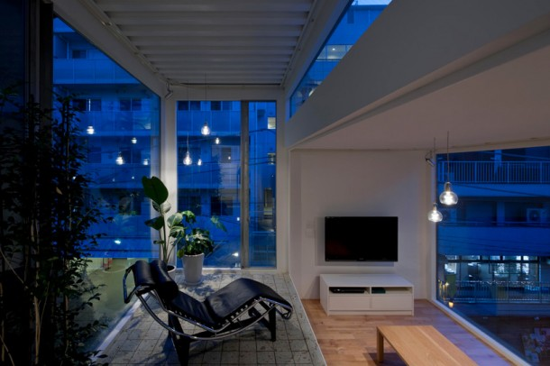 sunroom + living room at night