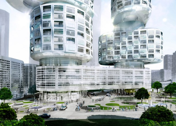 Side View of  View of Velo Towers
